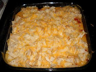King ranch chicken---- 5 ingredients: Corn tortillas, chicken, cream of chicken, rotel, cheese