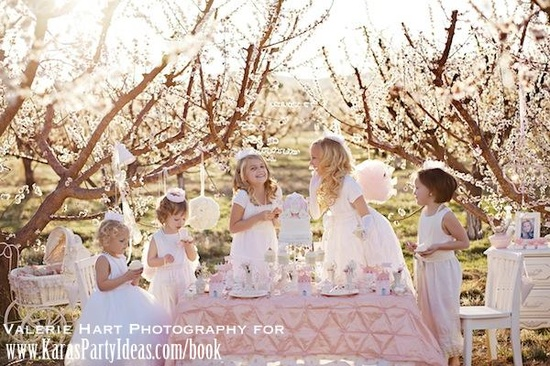 Princess Themed Birthday Party in a blooming orchard! Via Kara's Party Ideas - www.KarasPartyIde...