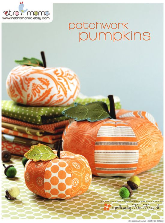 PDF Sewing Pattern Patchwork Pumpkins by retromama on Etsy, $8.00