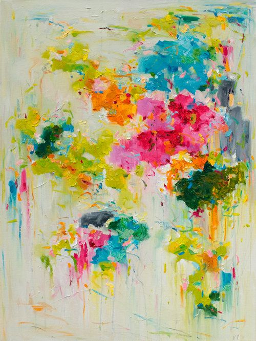 Flower on wall 01 Giclee art print 16x20 from original oil abstract painting