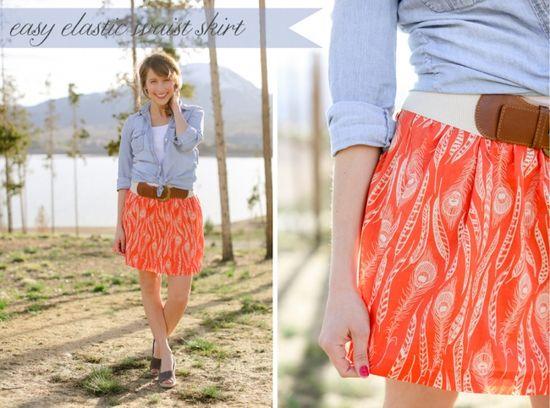 Easy Elastic Waistband Skirt Tutorial