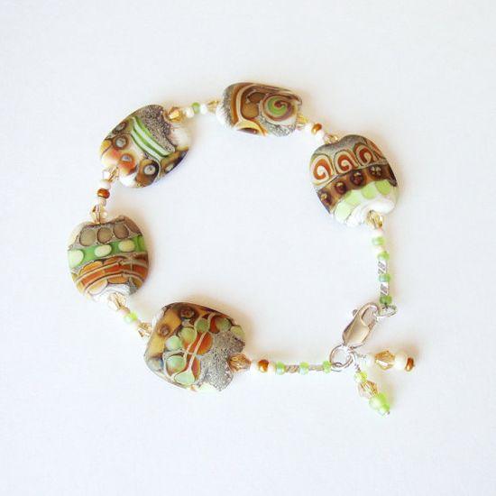Jewelry Bracelet Nectarine Lime Flat by CalliopeAZCreations, $52.00