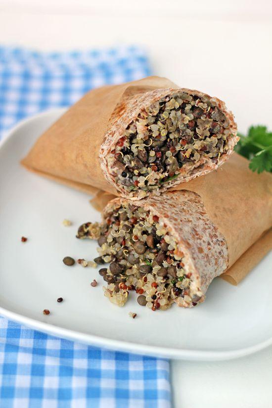 Whole grain quinoa & lentil wrap
