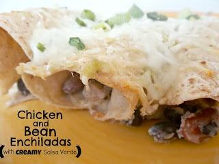 Chicken and Bean Enchiladas with Creamy Salsa Verde.