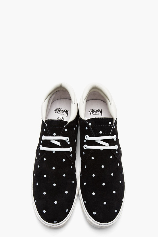 STUSSY DELUXE Black nubuck polka dot sneakers - I need these!!!