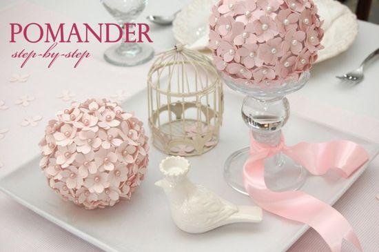 Tutorial: How to Make a Pomander Flower Ball on pizzazzerie.com