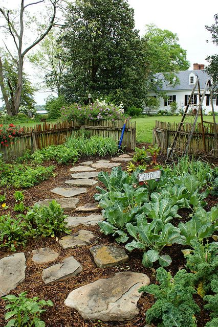 Simple path of flat rocks laid on/in mulch