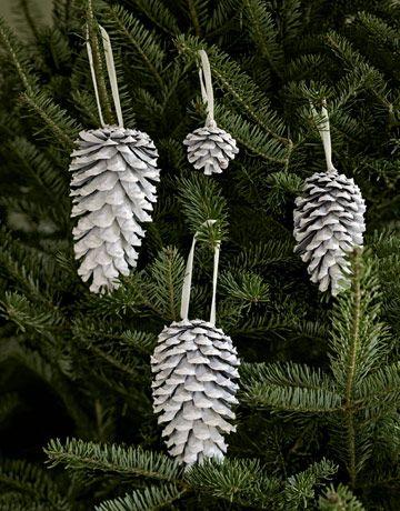 spray a pine cone for ornament