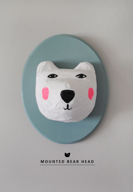 DIY Mounted Bear Head Wall Decor