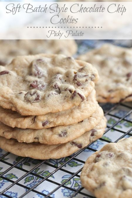 Soft Batch Style Chocolate Chip Cookies-Ingredients  1 stick/1/2 cup unsalted softened butter  3/4 cup packed light brown sugar  1/4 cup granulated sugar  1 large egg  1/2 teaspoon pure vanilla extract  1 1/2 cups all-purpose flour  2 teaspoons cornstarch  1 teaspoon baking soda  1/2 teaspoon kosher salt  2 cups semi-sweet chocolate chips