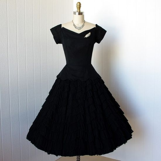 vintage 1950's dress ...gorgeous black chiffon circle skirt cocktail party prom dress sculptural bodice scalloped rows -featured item-