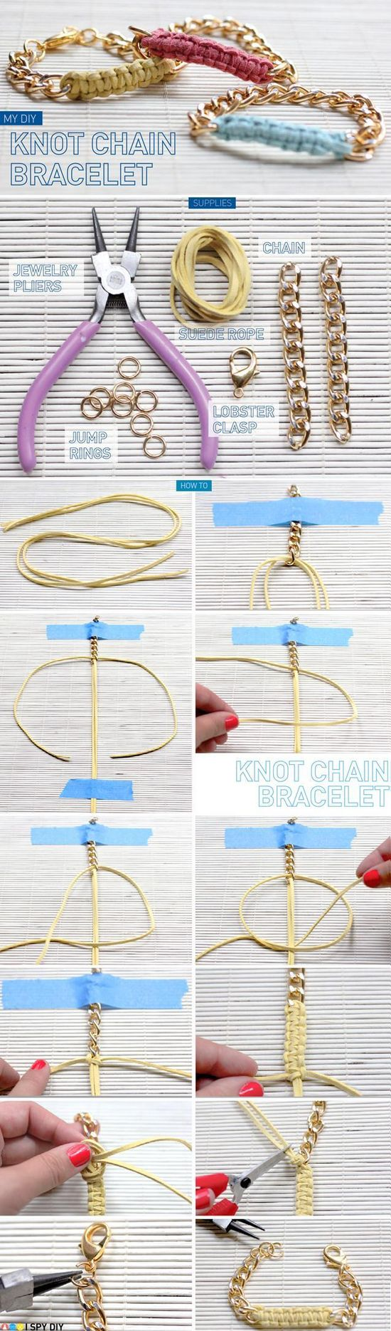 DIY Knot Chain Bracelet. Nice for all the smaller pieces of left over chain!!!!