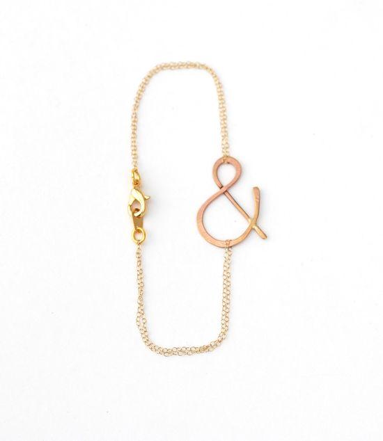 ampersand rose gold bracelet. $33.00, via Etsy.