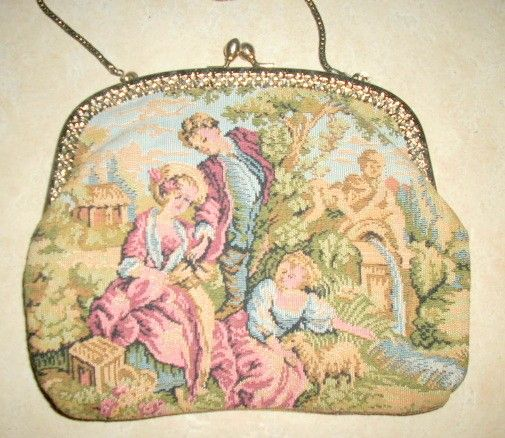 Vintage 50's LA REGALE needlepoint/tapestry courtship handbag