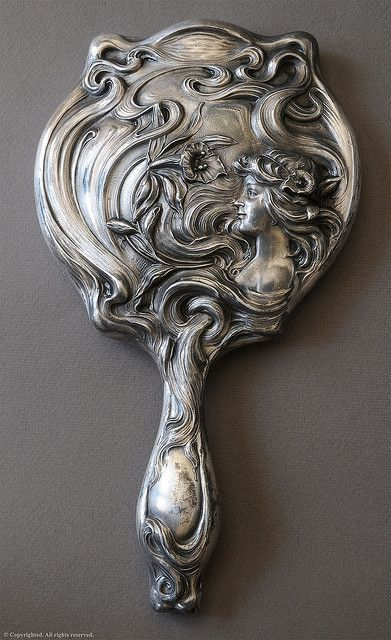silver art nouveau hand mirror