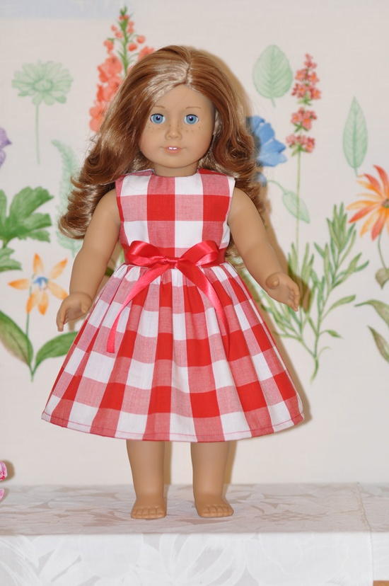 American Girl Doll Clothes Red and White Country Style Print Dress and Ribbon. $9.99, via Etsy.