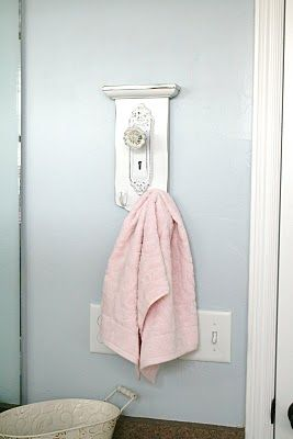 Bathroom Idea:  Use something beatiful from the Thrift Store to make put hooks on and make into a unique towel holder for your bathroom. The House of Smiths - Home DIY Blog - Interior Decorating Blog - Decorating on a Budget Blog