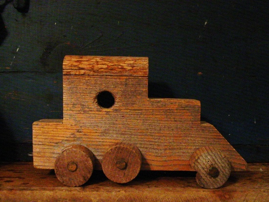 Vintage Handmade Wood Wooden Toy Train.