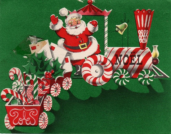 Santa in a Candy Cane Train.