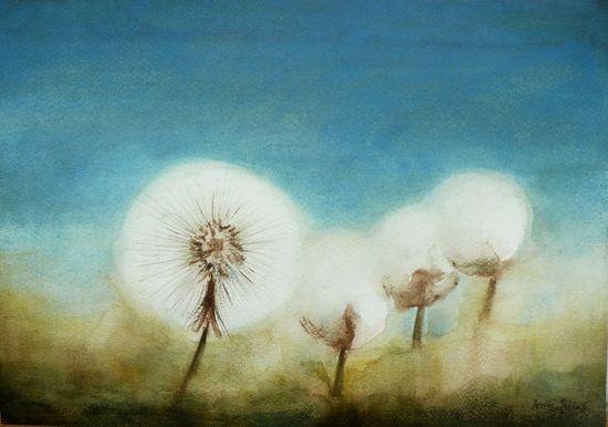 "Watercolor, Dandelion Watercolor - Dandelion Painting, Original Flower Watercolor ""Dandelions"", $45.00 USD"