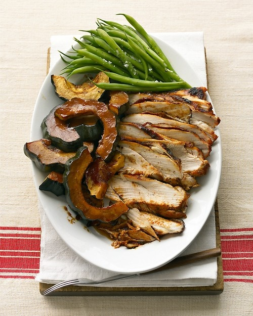 Molasses-Glazed Turkey Breast and Acorn Squash for #thanksgiving - Martha Stewart Recipes