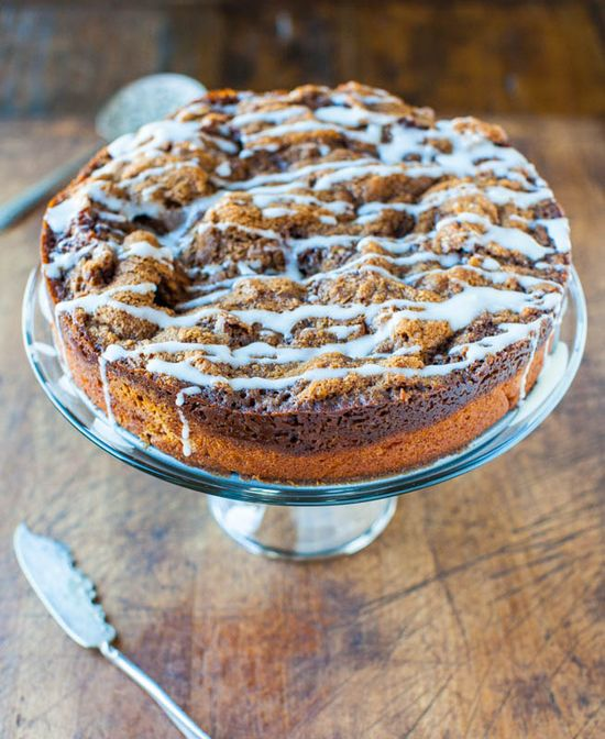 Cinnamon Roll Coffee Cake with Cream Cheese Glaze - Tastes like a buttery warm cinnamon roll without the work. Easy & ready in 1 hour