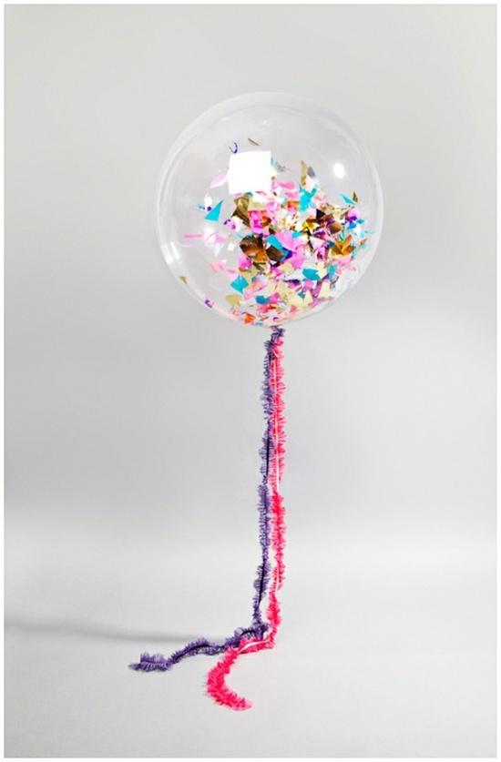 Balloon + confetti + helium = fun party
