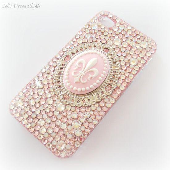 Pink princess rhinestone phone case fleur de lis by celdeconail