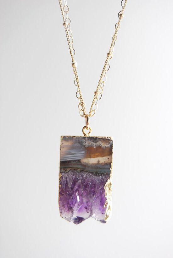 Kaiaka necklace  24kt gold edged raw amethyst by kealohajewelry