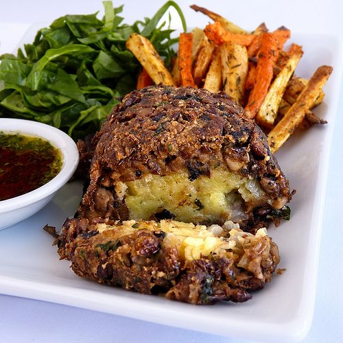 What is this gorgeous creation, you may ask? Lentil and Mushroom Loaf with Savory Potato Filling.