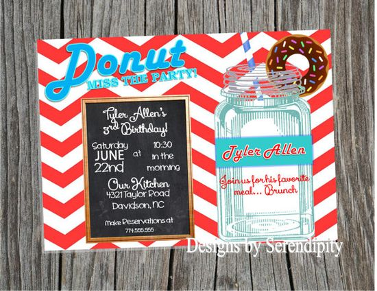 Donut Birthday party Invitation, Breakfast themed party, Invitaiton, DIY, Printable