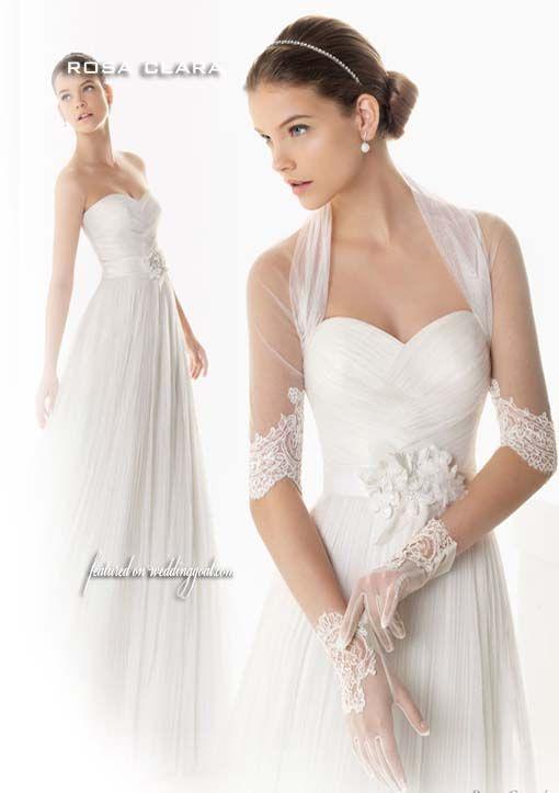 rosa clara 2013 bambu wedding dress illusion sleveve shrug