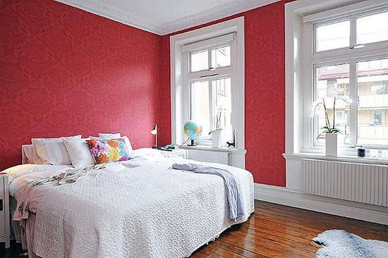 Swedish Style Bedroom Designs with fresh red wallpapers