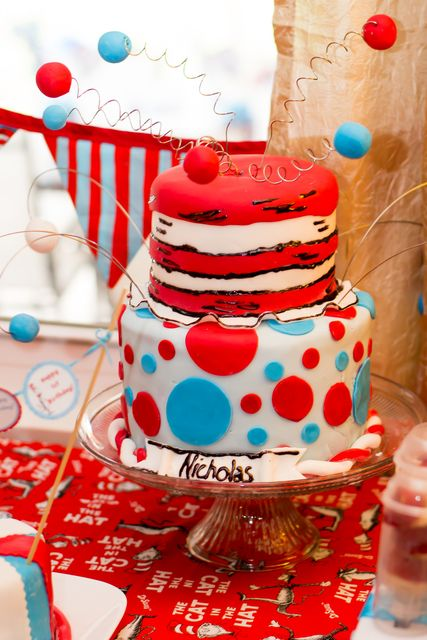 What a fun cake at a Dr. Seuss party!  See more party ideas at CatchMyParty.com!  #drseuss #partyideas