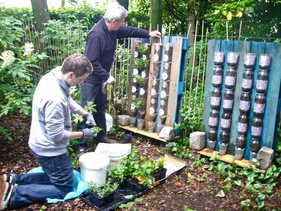 Awesome Ideas of Modern Garden Design with Recycled Bottles : How To Make Modern Garden Designs With Recycled Bottles