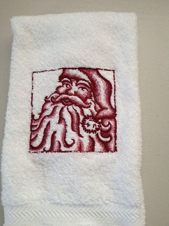 Christmas Santa bathroom hand towel by PJSEMBROIDERY on Etsy, $10.00