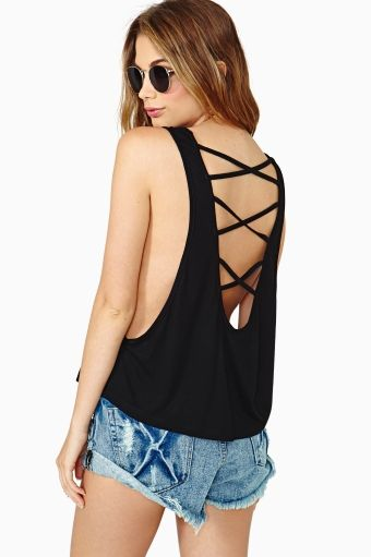 Summer Fun Strapped Tank in Black
