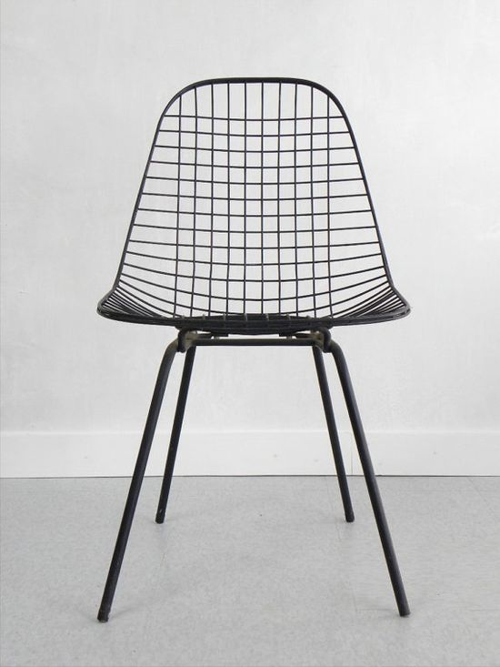 Vintage Eames Wire Side Chair, Herman Miller via Cathode Blue on Etsy.com www.etsy.com/...