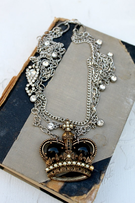 Vintage Crown necklace accented with rhinestone.