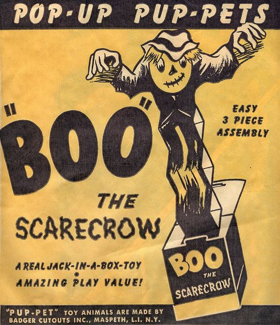 Boo the Scarecrow Pop-Up Pup-pet (1940s). #vintage #1940s #Halloween #decorations #toys