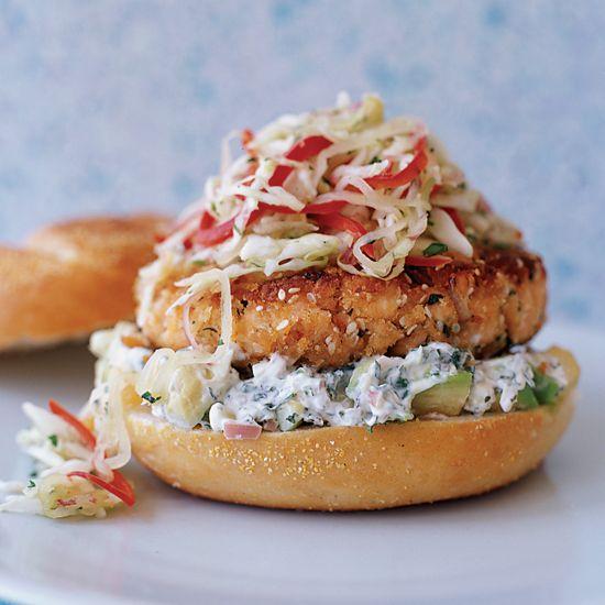 Pan-Fried Salmon Burgers with Cabbage Slaw and Avocado Aioli // More Seafood Burgers: www.foodandwine.c... #foodandwine