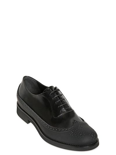 GIORGIO ARMANI - LEATHER & RUBBER BROGUED OXFORD SHOES - LUISAVIAROMA - LUXURY SHOPPING WORLDWIDE SHIPPING - FLORENCE