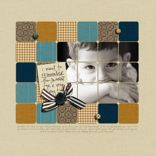 Interesting #squares #photo #layout #scrapbook #note #ribbon