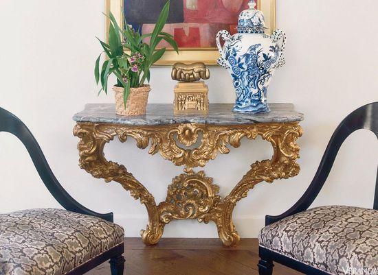 Blue and White porcelain in VERANDA. Interior Design by Bruce Gregga.
