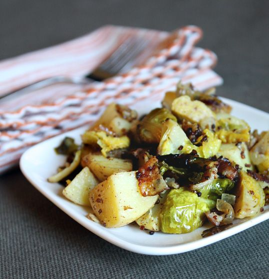 Roasted Potatoes with Brussels Sprouts and Bacon
