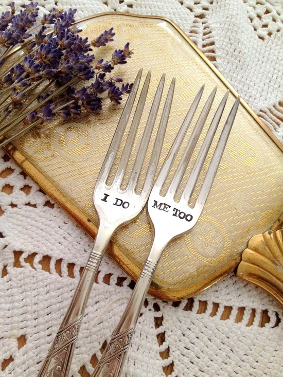 I Do, Me Too Wedding Cake Fork Set - Hand Stamped, via Etsy.