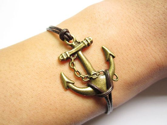 Bracelet antique bronze anchor&brown