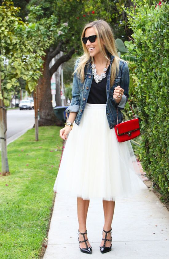 tulle skirt, jean jacket, statement necklace