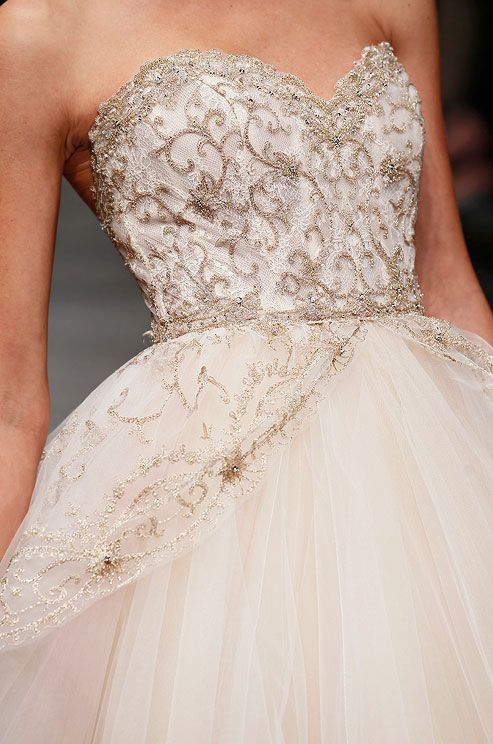 Beaded tulle wedding dress from Lazaro, Spring 2013. Click to see the full dress.