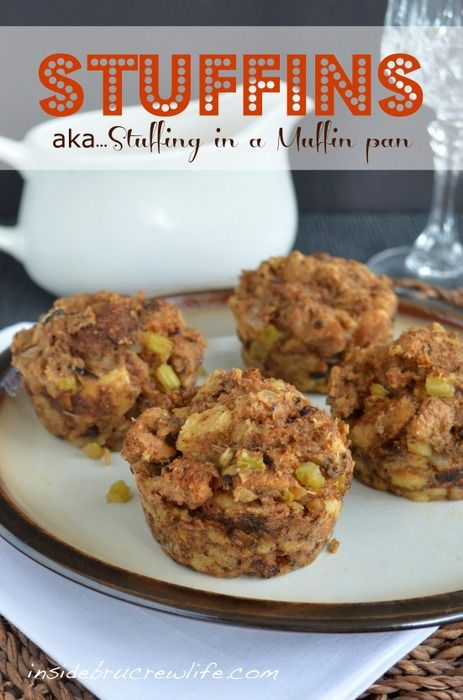 Stuffins...stuffing made in a muffin pan is an easy way to serve individual stuffing at Thanksgiving. #thanksgiving #stuffing www.insidebrucrew...